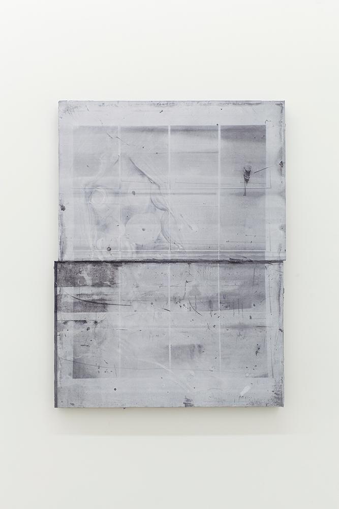Nicolas Lachance, Montage-02, 2018, Ciment de gypse, encre, bois et fibre de verre, 96,5 x 72,3 cm / 38 x 28,5 pouces