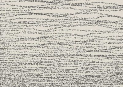 Simon Bertrand, 33 words, 2017, crayon à l'encre sur papier (texte: 33 words par Sylvia Plath), 20,5 x 15 cm / 8 x 6 pouces.