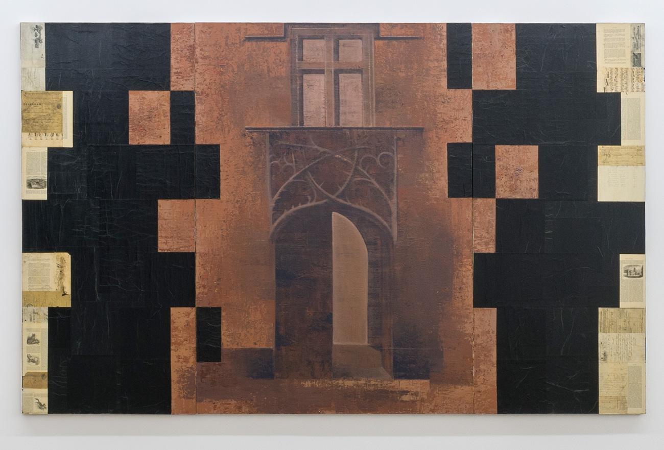 Pierre Dorion, Porte de Baroncelli-Javon, 1989, Huile et collage sur toile, 182,8 x 274,3 cm / 72 x 108 pouces  - Photo : Richard-Max Tremblay