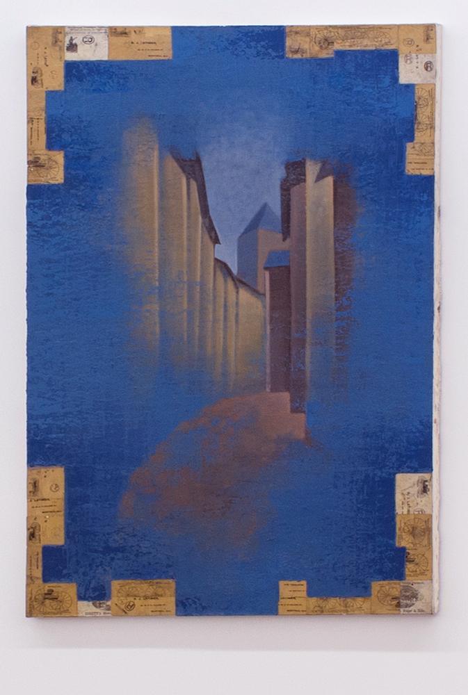 Pierre Dorion, Vollaire-Briançon, 1989, Huile et collage sur toile, 148 x 93 cm / 58,2 x 36,6 pouces, Photo : Richard-Max Tremblay