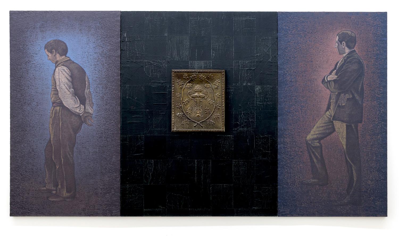 Pierre Dorion, Eurythmie, 1989, Huile, collage et objet sur toile, 213,5 x 365 cm / 84 x 143,7 pouces,  Photo : Richard-Max Tremblay