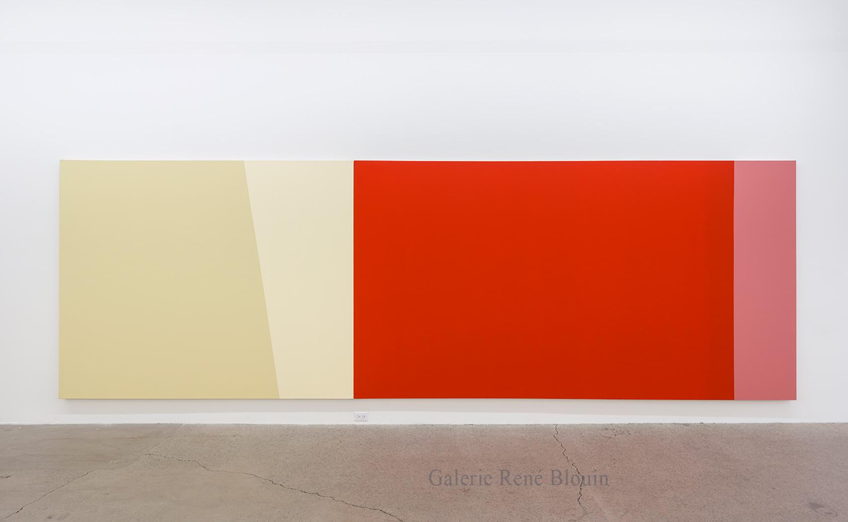 Yves Gaucher, Reds+Ps, 1992, Acrylique sur toile, 198 x 609,6 cm / 78 x 240 pouces, Photo : Guy L'Heureux