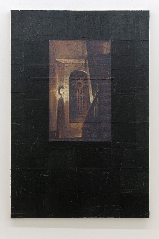 Pierre Dorion, Menzel, 1989, Huile et collage sur toile, 182,8 x 121,9 cm / 72 x 48 pouces, Photo : Richard-Max Tremblay