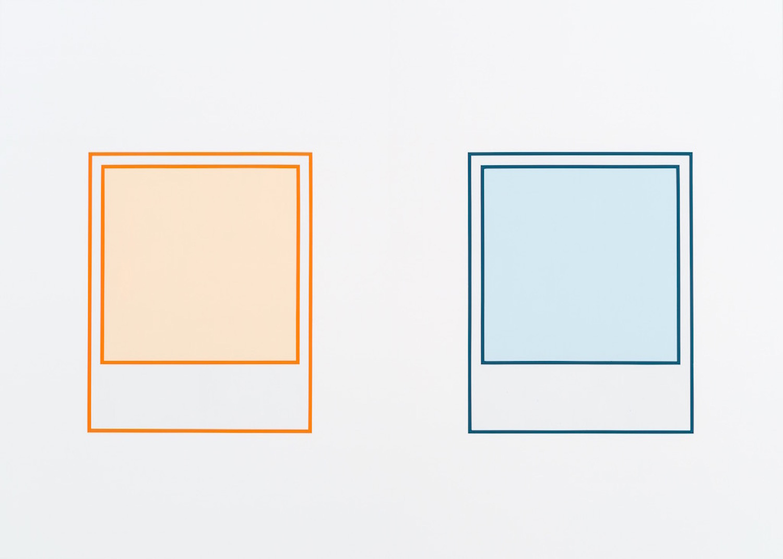 Martin Bourdeau, Prototype (orange n°2) / Prototype (turquoise), 2018, Acrylique sur toile, 152 x 213 cm / 60 x 84 pouces