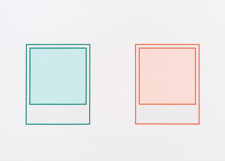 Martin Bourdeau, Prototype (vert n°2) / Prototype (rouge n°3), 2018, Acrylique sur toile, 152 x 213 cm / 60 x 84 pouces