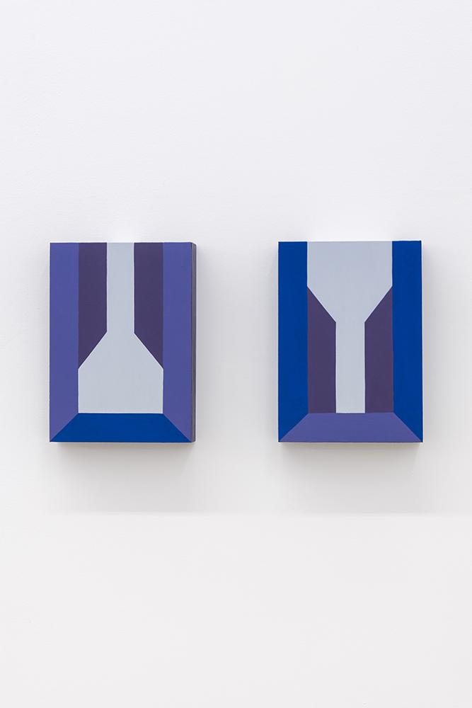 Serena Beaulieu, Y, 2018, Acrylique sur panneaux de bois, 17,7 x 12,7 cm / 7 x 5 pouces (chaque élément)