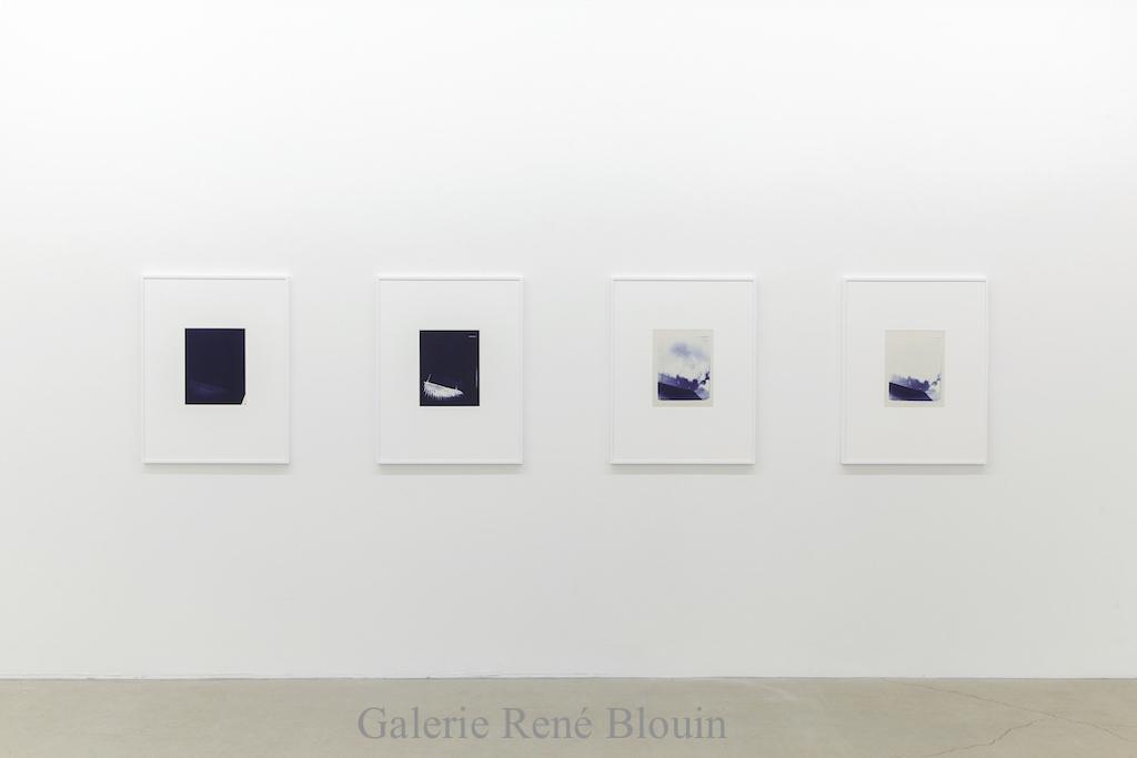 Charles Gagnon, Untitled (4), circa 1974, Cyanotype, 32 x 25 po (papier). Untitled (3), circa 1974, Cyanotype, 32 x 25 po (papier). Untitled (2), circa 1974, Cyanotype, 32 x 25 po (papier). Untitled (1), circa 1974, Cyanotype, 32 x 25 po (papier)