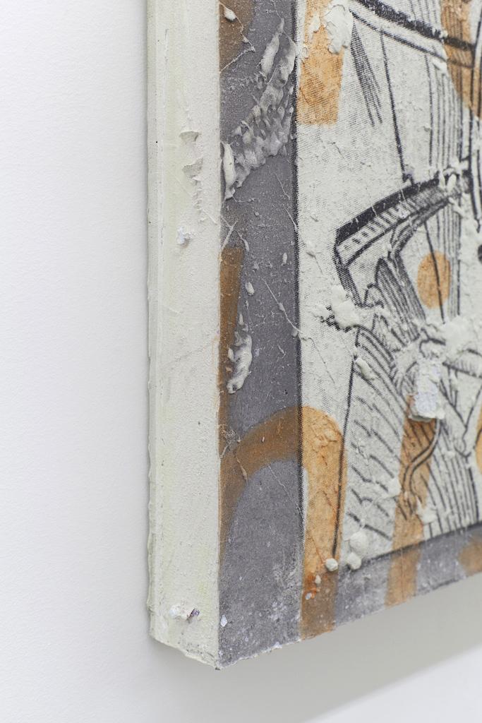 L'infaillibilité du signe (Le joueur), (détail), moulage de ciment de gypse, sérigraphie et aquarelle, 22 x 17,5 po